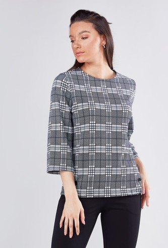 Chequered T-shirt with Round Neck and 3/4 Sleeves
