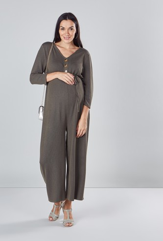 Textured Maternity Jumpsuit with V-neck and 3/4 Sleeves