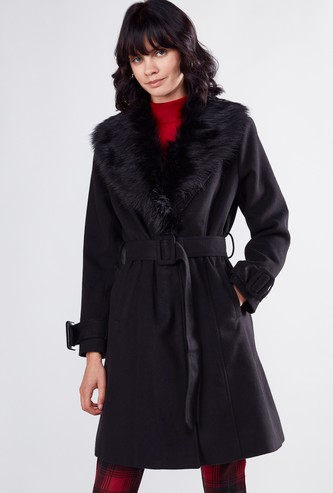 Textured Coat with Long Sleeves and Belt