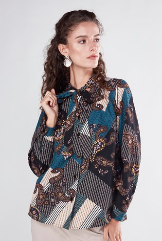 Printed Blouse with Long Sleeves and Pussy Bow Neckline