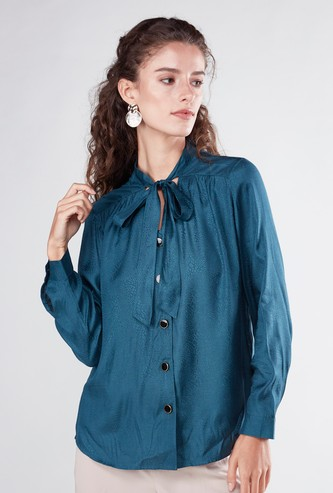 Solid Tie Neck Blouse with Long Sleeves