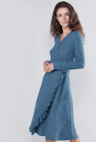 Textured A-line Midi Dress with Long Sleeves and Knot Detail
