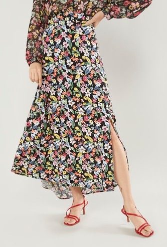 Floral Print A-line Skirt with Elasticised Waistband and Side Slit
