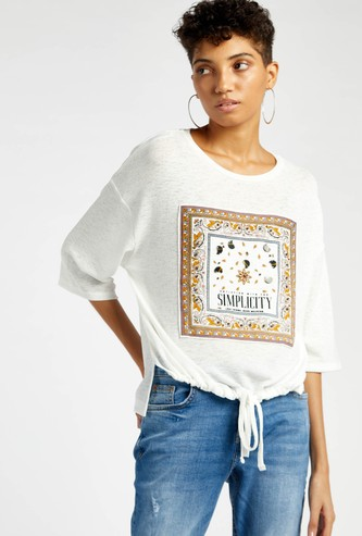 Embellished T-shirt with Drawstring Closure and 3/4 Sleeves