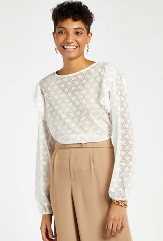 Lace Top with Long Sleeves and Ruffle Detail
