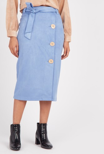 Midi Skirt with Tie Up and Button Detail