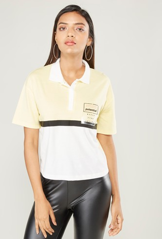 Colourblock Polo Neck T-shirt with Short Sleeves and Patch Pocket