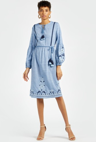 Embroidered Knee-Length A-line Dress with Bishop Sleeves and Tie Ups