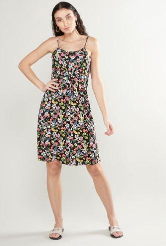 فستان ميدي إيه لاين بأربطة وطبعات