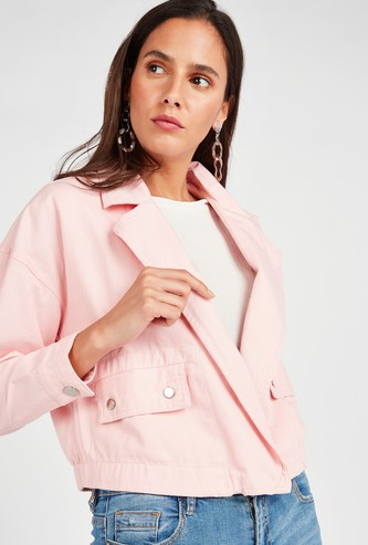 Solid Cropped Jacket with Notched Collar and Button Closure