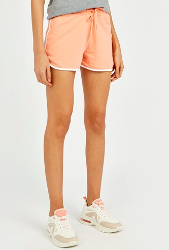 Solid Mid-Rise Shorts with Drawstring