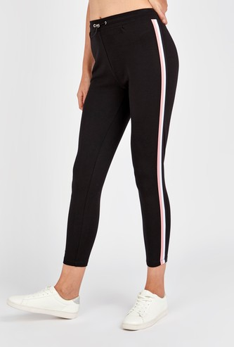 Solid Mid-Rise Leggings with Drawstring Closure