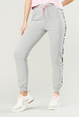 Side Tape Printed Jog Pants with Drawstring