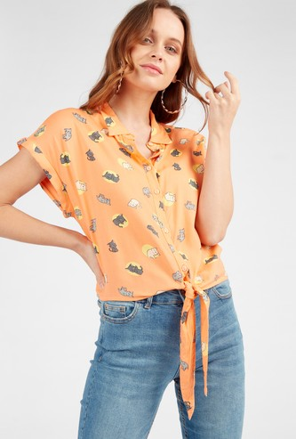 Printed Shirt with Front Knot Detail and Cap Sleeves