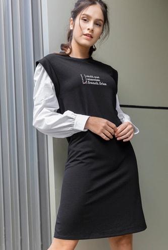 Printed Knee-Length Shift Dress with Poplin Sleeves