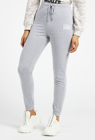 Solid Ankle Length Joggers with Elasticated Drawstring Waist