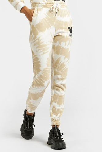 Mickey Mouse Graphic Print Tie Dye Jog Pants with Pocket Detail
