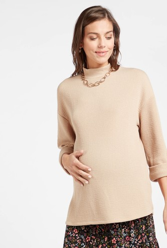 Textured Maternity Sweater with High Neck and Long Sleeves