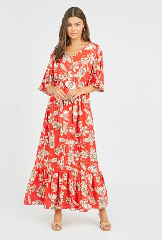 فستان طويل إيه لاين بياقة V وأكمام واسعة مع طبعات