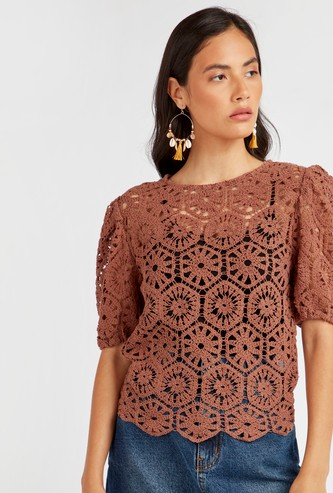 Crochet Detail Top with Short Sleeves