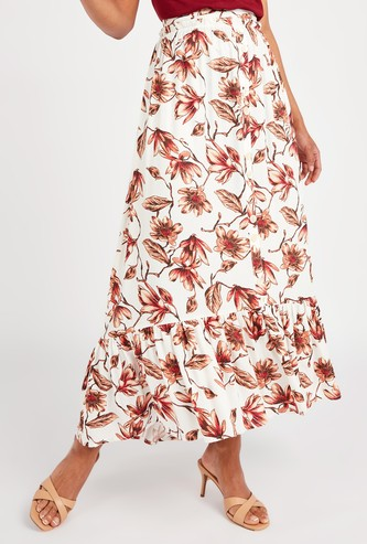 Floral Print Maxi A-line Skirt with Elasticised Waistband