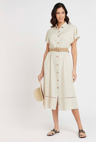 Textured Midi Shirt Dress with Cap Sleeves and Belt