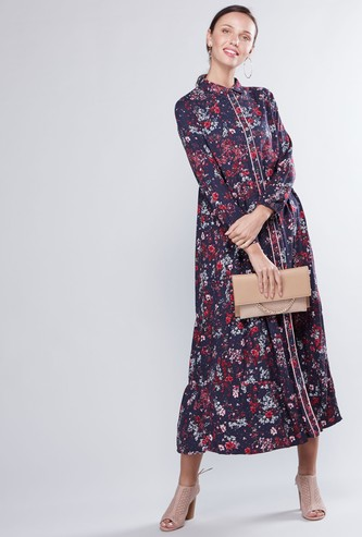 Floral Printed Maxi Shirt Dress with Long Sleeves