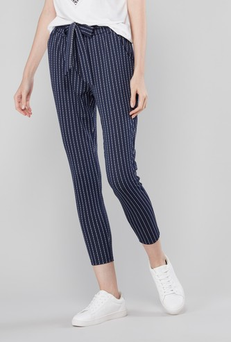 Striped Paper Bag Cropped Trousers with Pocket Detail