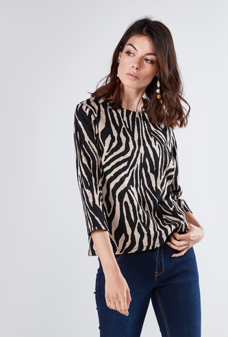 Printed Round Neck Top with 3/4 Sleeves and Faux Button Detail