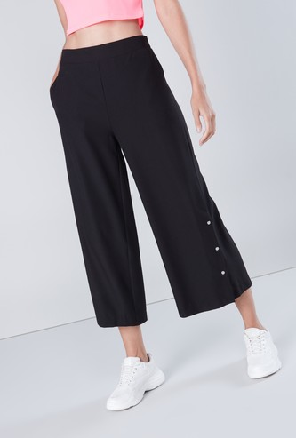 Plain Palazzos with Pockets and Button Detailing