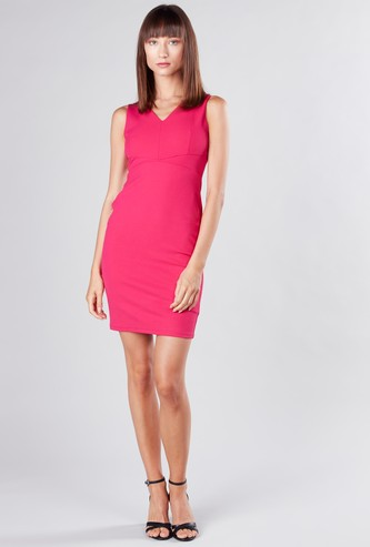 Plain Mini Bodycon Dress with V-neck