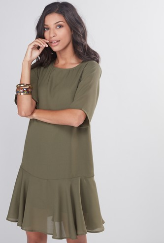 A-Line Dress with Round Neck and Extended Sleeves