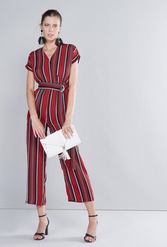 Striped V-neck Jumpsuit with Extended Sleeves and Tie Ups