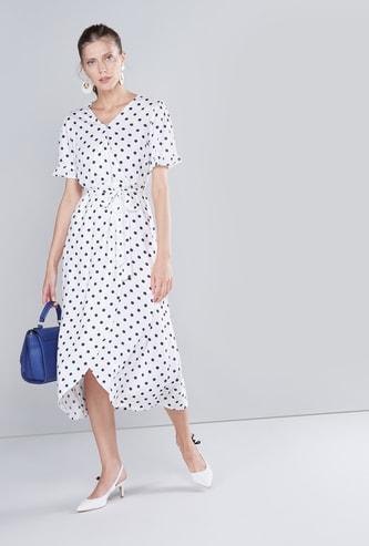 Polka Dot Printed Midi Dress with Short Sleeves and Asymmetric Hem