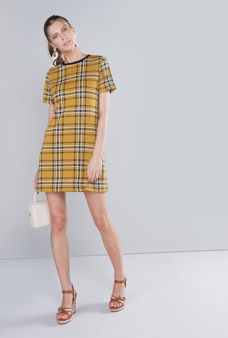 Chequered Mini Dress with Round Neck and Short Sleeves