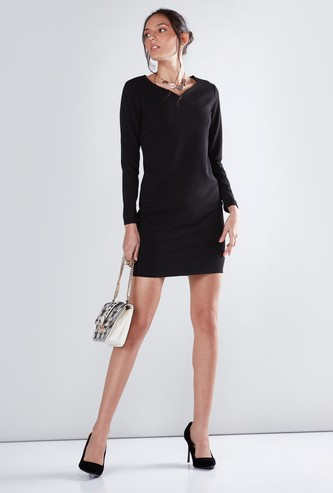 Mini Bodycon Dress with Sweetheart Neck and Long Sleeves