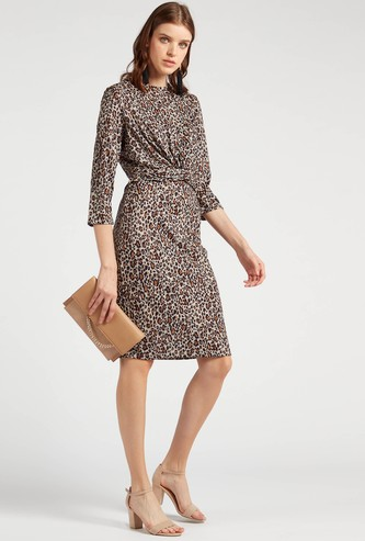 Animal Printed Midi A-line Dress with Front Knot Detail