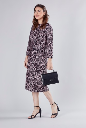 Animal Printed Midi Dress with Long Sleeves and Twisted Front Detail