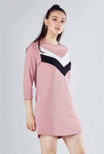 Striped Mini Shift Dress with Round Neck and 3/4 Sleeves