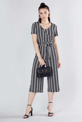 Striped Jumpsuit with Short Sleeves and Tie Ups