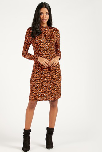 Printed Mini Shift Dress with Long Sleeves