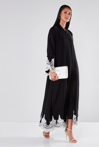 Lace Detailed Abaya with Long Sleeves and Button-Up Closure
