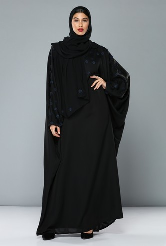 Full Length Abaya with Floral Appliques