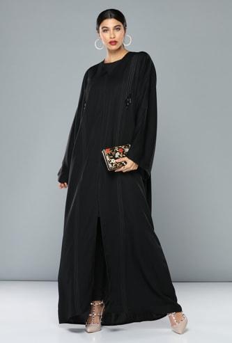 Full Length Abaya with Ribbon and Beads Detail