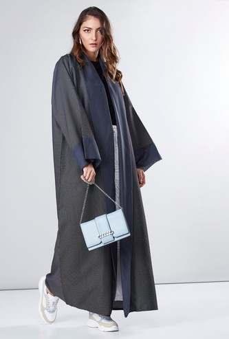 Textured Abaya with Long Sleeves and Tie Ups