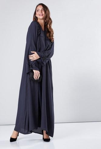 Embellished Abaya with Long Flared Sleeves