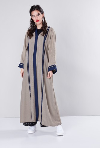 Textured Abaya with Contrast Panel Detail and Long Sleeves