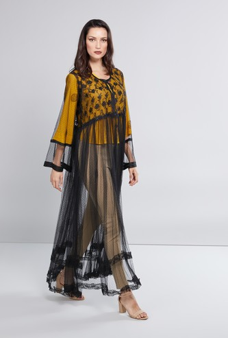 Embroidered Mesh Abaya with Long Sleeves and Embellished Detail
