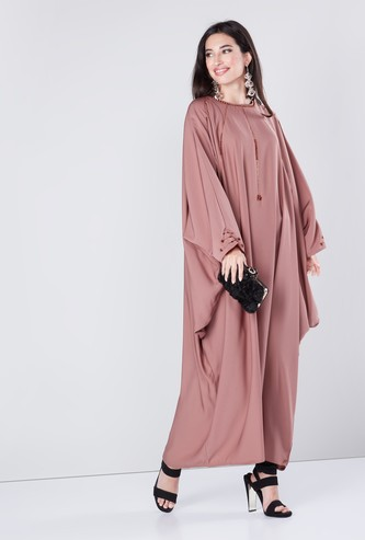 Embellished Abaya with Butterfly Sleeves