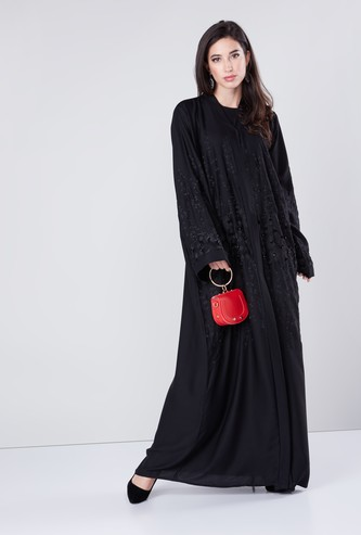 Embroidered Abaya with Long Sleeves and Front Button Up